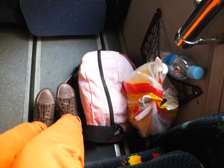 Bags near our feet