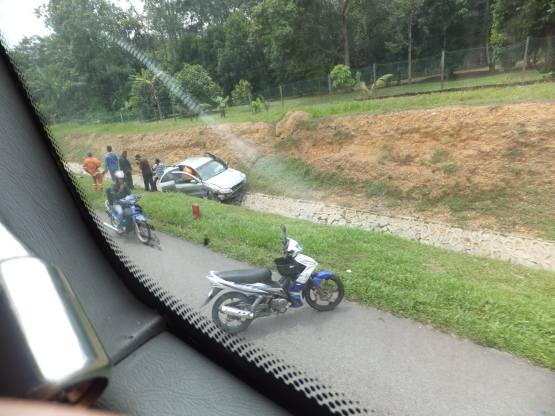 Accident along highway