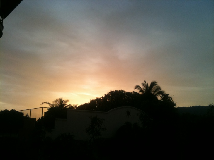 Sunset in Langkawi, view from the front of Perdana Beach Resort