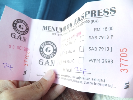 Menumbok Express Bus Ticket