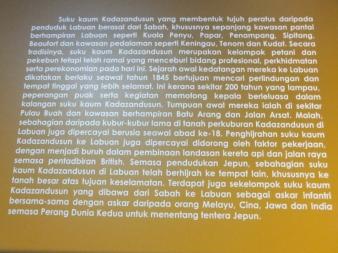 Labuan Muzium - Kadazandusun Background in Malay