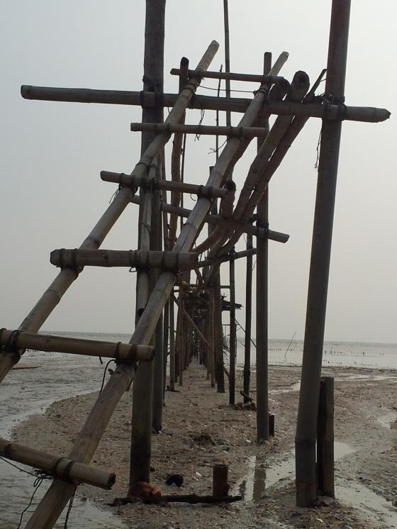 Pantai Perpat Jetty made of Bamboo Sticks