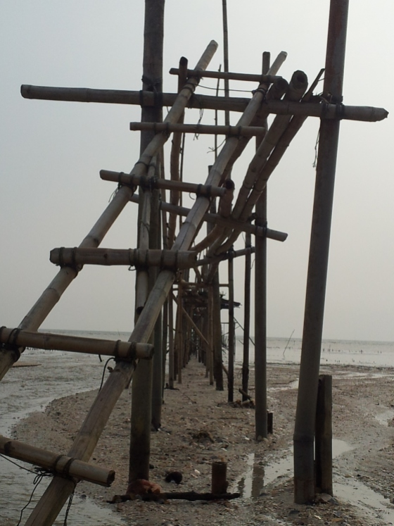 Pantai Perpat Jetty made of Bamboo Sticks