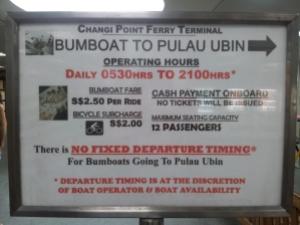 Bumboat Timing to Pulau Ubin
