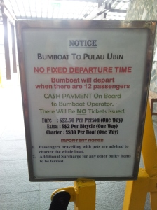 Bumboat to Pulau Ubin Notice