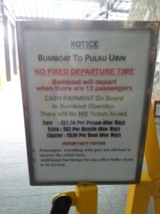 Bumboat to Pulau Ubin Notice