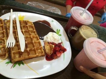 Raju's Hill Strawberry Farm - Strawberry Cafe strawberry waffles, strawberry coffee, strawberry float, strawberry milkshake