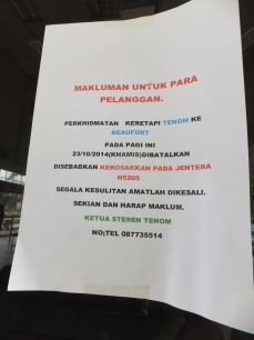 Tenom Railway Train broke down notice since 23 Oct 2014