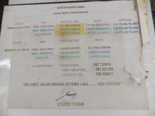 Tenom Railway Train Schedule 2014