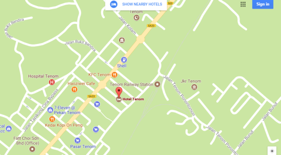 Hotel Tenom to Tenom Railway Zoom Out