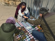 Istanbul Old Lady Street Seller Handmade Pouch - Me choosing while a customer pays his