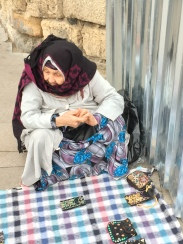 Istanbul Old Lady Street Seller Handmade Pouch Patiently waiting for me picking my choice
