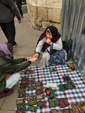 Istanbul Old Lady Street Seller Handmade Pouch - Me paying for my purchase