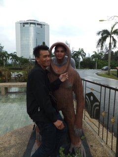 Rudy and Awang with Orang Utan Props outside of Menara Tun Mustapha
