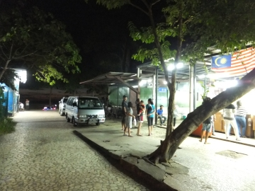 Tanjung Aru Beach Food and Drink Stalls with sunset