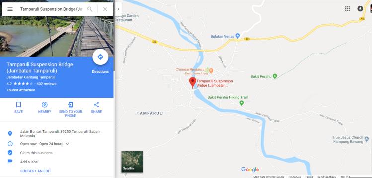 Tamparuli Bridge Map